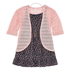 Knit Works Floral Tank Top with Cardigan & Necklace - Girls' 7-16