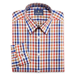 Stafford Travel Performance Super Shirt Long Sleeve Woven Checked Dress Shirt