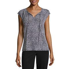 Liz ClaiborneCap Sleeve TieNeck Knit Top