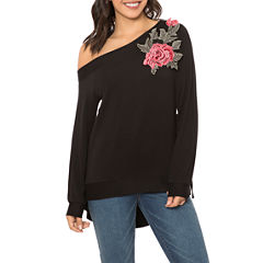 T.D.C Off Shoulder Rose Applique Knit Top