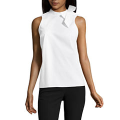 Worthington Sleeveless Bow Blouse