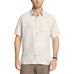 Van Heusen Short Sleeve Jacquard Leaf Print Button-Front Shirt