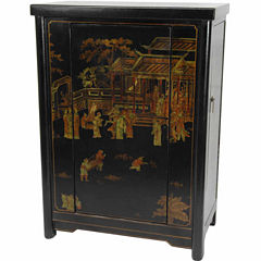 Oriental Furniture Black Lacquer Wine Cabinet
