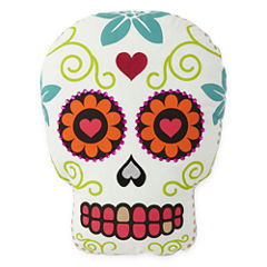 JCPenney Home™ White Sugar Skull-Shaped Pillow