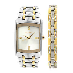 Elgin® Mens Two-Tone Crystal Watch and Bracelet