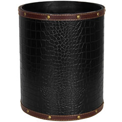 Oriental Furniture Faux-Leather Waste Basket