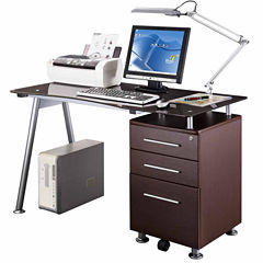 RTA Products LLC Techni Mobili Stylish Brown Tempered Glass Top Computer Desk with Storage