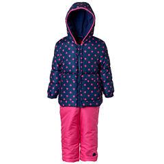 Pink Platinum Heavyweight Hearts Snow Suit-Toddler Girls