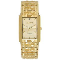 Elgin® Mens Gold Tone Nugget Bracelet Watch Fg286Nb