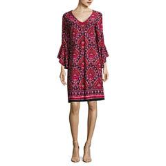 Tiana B Long Sleeve Bordered Sheath Dress-Talls
