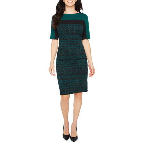 Liz Claiborne Elbow Sleeve Jacquard Sheath Dress