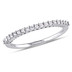 Womens 1/5 CT. T.W. Genuine White Diamond Sterling Silver Wedding Band