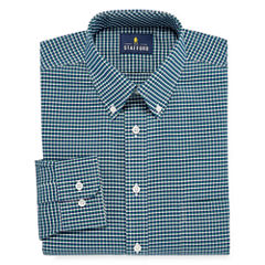 Stafford Stafford Wrinkle Free Oxford Long Sleeve Woven Gingham Dress Shirt