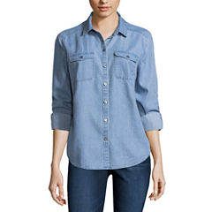 Liz Claiborne Long Sleeve Boyfriend Denim Shirt