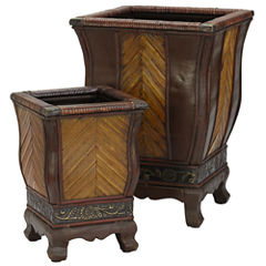 Nearly Natural Decorative Wood Planters Set Of 2