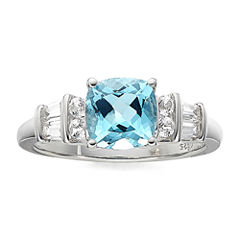 Genuine Blue Topaz and Lab-Created White Sapphire Sterling Silver 3-Stone Ring