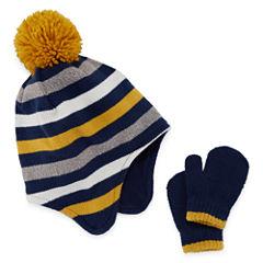 Toddler Striped Hat & Mitten Set