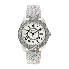 Decree® Womens Crystal-Accent Glitter White Strap Watch