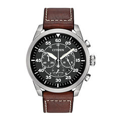 Citizen® Eco-Drive® Avion Mens Brown Leather Strap Chronograph Watch CA4210-24E
