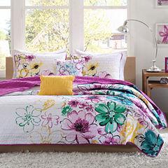 Intelligent Design Ashley Floral Quilt Set