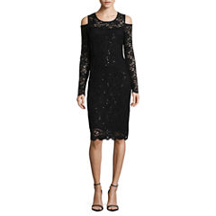 Tiana B Long Sleeve Sheath Dress-Talls
