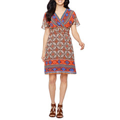 Rabbit Rabbit Rabbit Design Short Sleeve Bordered Fit & Flare Dress