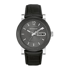 Wittnauer® Mens Black Leather Strap Watch WN1000