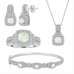 Lab-Created Opal And Cubic Zirconia Pure Silver Over Brass 4Pc Set