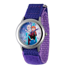 Disney Princess Anna And Elsa Frozen Girls Purple Strap Watch-Wds000193