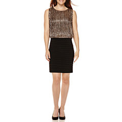 Scarlett Sleeveless Metallic Blouson Sheath Dress