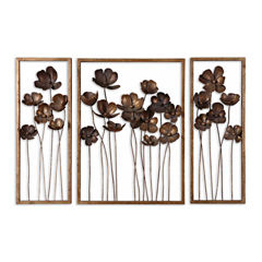 Set of 3 Metal Tulips Wall Art