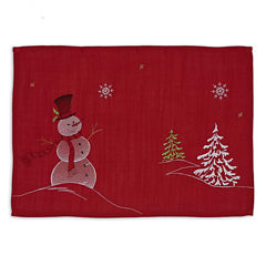 Design Imports Embroidered Snowman Table Runner