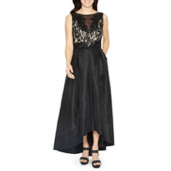 Melrose Sleeveless Applique Beaded Evening Gown