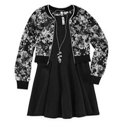 TG BLACK FLORAL JACKET SKATER DRESS - GIRLS' 7-16