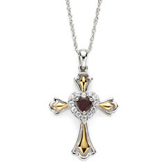 Garnet & Lab-Created White Sapphire Two-Tone Cross Pendant Necklace