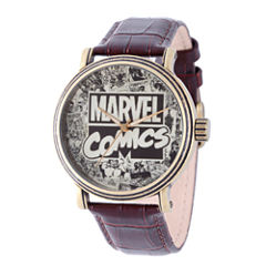 Comics Marvel Mens Brown Strap Watch-Wma000047