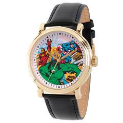 Comics Marvel Mens Black Strap Watch-Wma000052