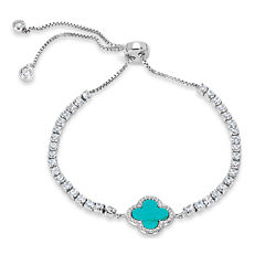 Womens Blue Turquoise Sterling Silver Bolo Bracelet