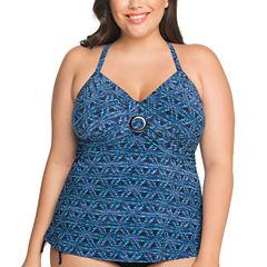 St. John's Bay Geometric Tankini Swimsuit Top-Plus
