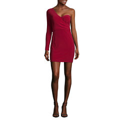 Trixxi Long Sleeve Bodycon Dress-Juniors