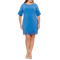 Spense Elbow Sleeve Sheath Dress-Plus