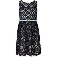 Speechless Burnout Lace Sleeveless Skater Dress - Girls' Plus