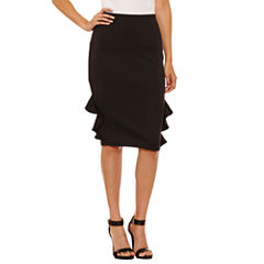 Bisou Bisou Ruffle Side Pencil Skirts