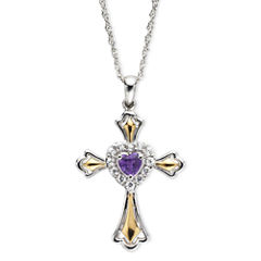 Amethyst & Lab-Created White Sapphire Two-Tone Cross Pendant Necklace