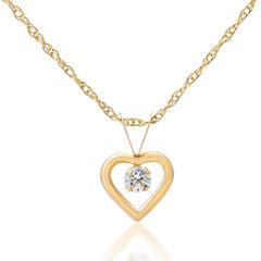 Children's 14K Gold Cubic Zirconia Heart Pendant Necklace
