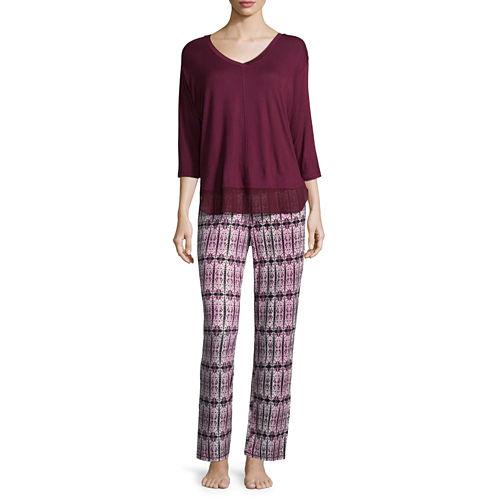 Ambrielle 3/4 Sleeve Chiffon Trim Top and Pajama Set-Petites