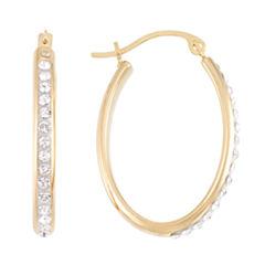 Gold Opulence Crystal 14K Gold Over Diamond Resin Hoop Earrings