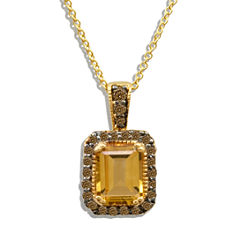 Grand Sample Sale™ by Le Vian® Cinnamon Citrine® & 1/4 CT. T.W Chocolate Diamonds® in 14k Honey Gold™ Chocolatier® Pendant