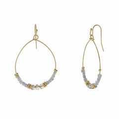 Natasha Blue Gold-Tone Oval Hoop Drop Earrings