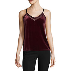 Worthington Sleeveless V Neck T-Shirt-Womens